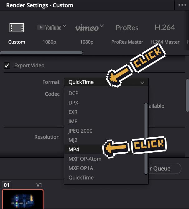 davinciresolve changing the export format