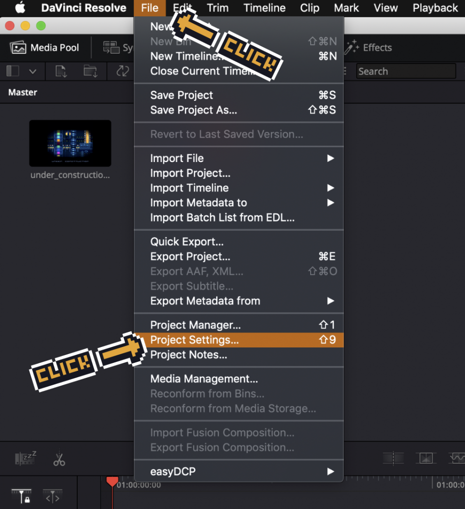davinciresolve clicking on project settings